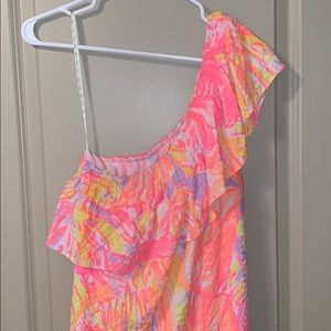 Lilly Pulitzer one-shoulder neon pink dress